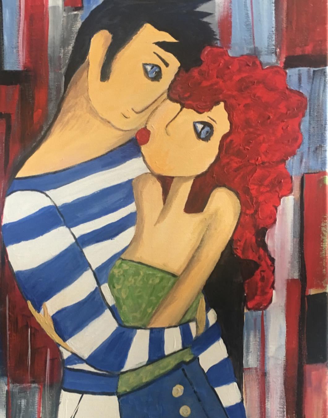 Párizsi csók - Balaton - Akril, vászon 40x60 cm