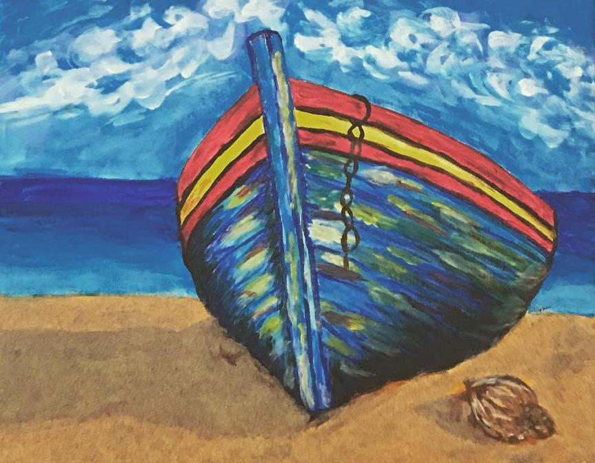 Magányos csónak - Balaton - Akril, vászon 60x40 cm