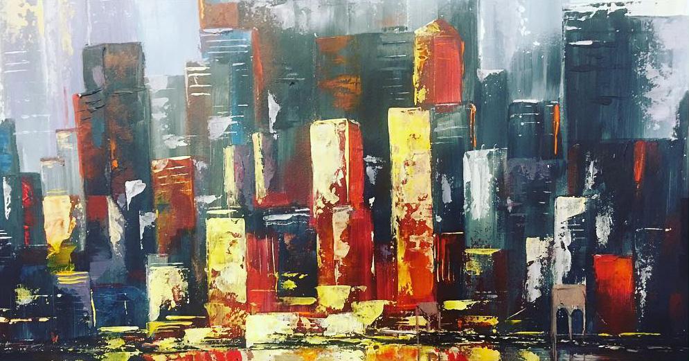 New York - Balaton - Akril, vászon 60x30 cm