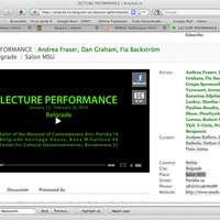 Lecture Performance - Salon MSU, Belgrade