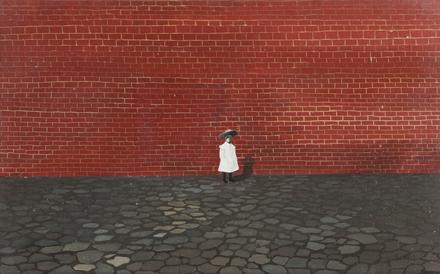 Kislány fal előtt_olaj,vászon_1955_Rómer Flóris Művészeti és Történeti Múzeum, Vasilescu-gyűjtemény.jpg