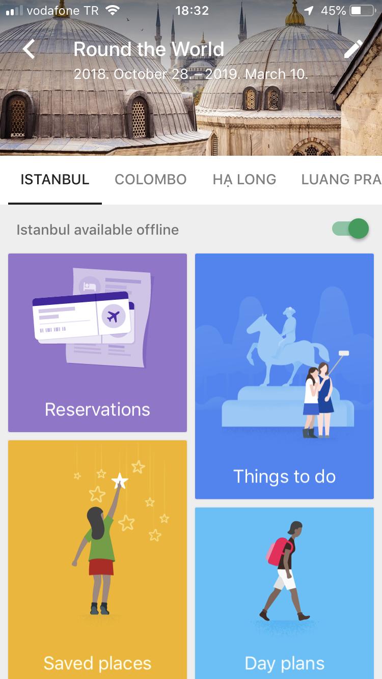 A Google Trips kezdőlapja