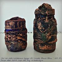 Férfi kéz alkotta paverpolos textildekorációs kis tégelyek...
