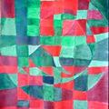 Absztrakt festmény ~ zöld-piros 1.