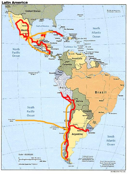 latin amerika térkép Egy év Latin Amerikában   Clandestino latin amerika térkép