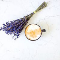 Relaxing with a cup of coffee. ☕️ Lavender has so many positive effects but one of the best is the calming impact.
