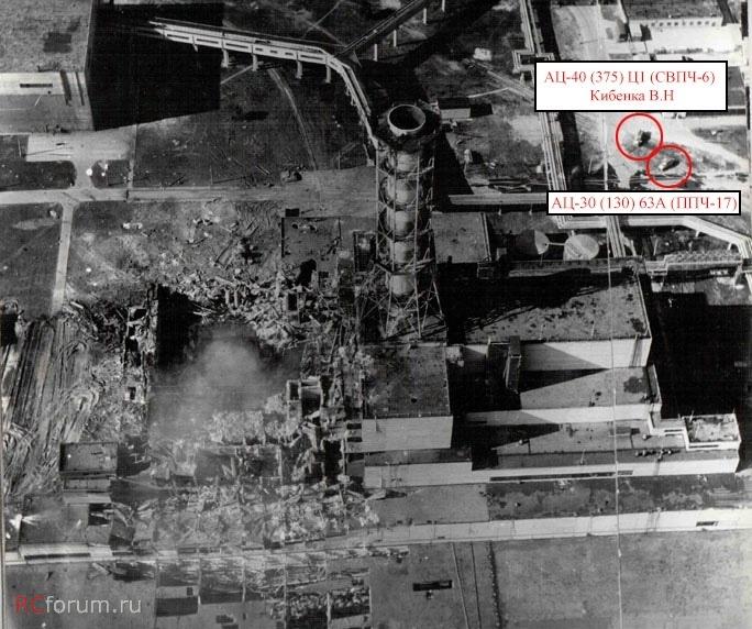 A csernobili és pripyati tűzoltók járművei a levegőből fotózva a baleset reggelén.