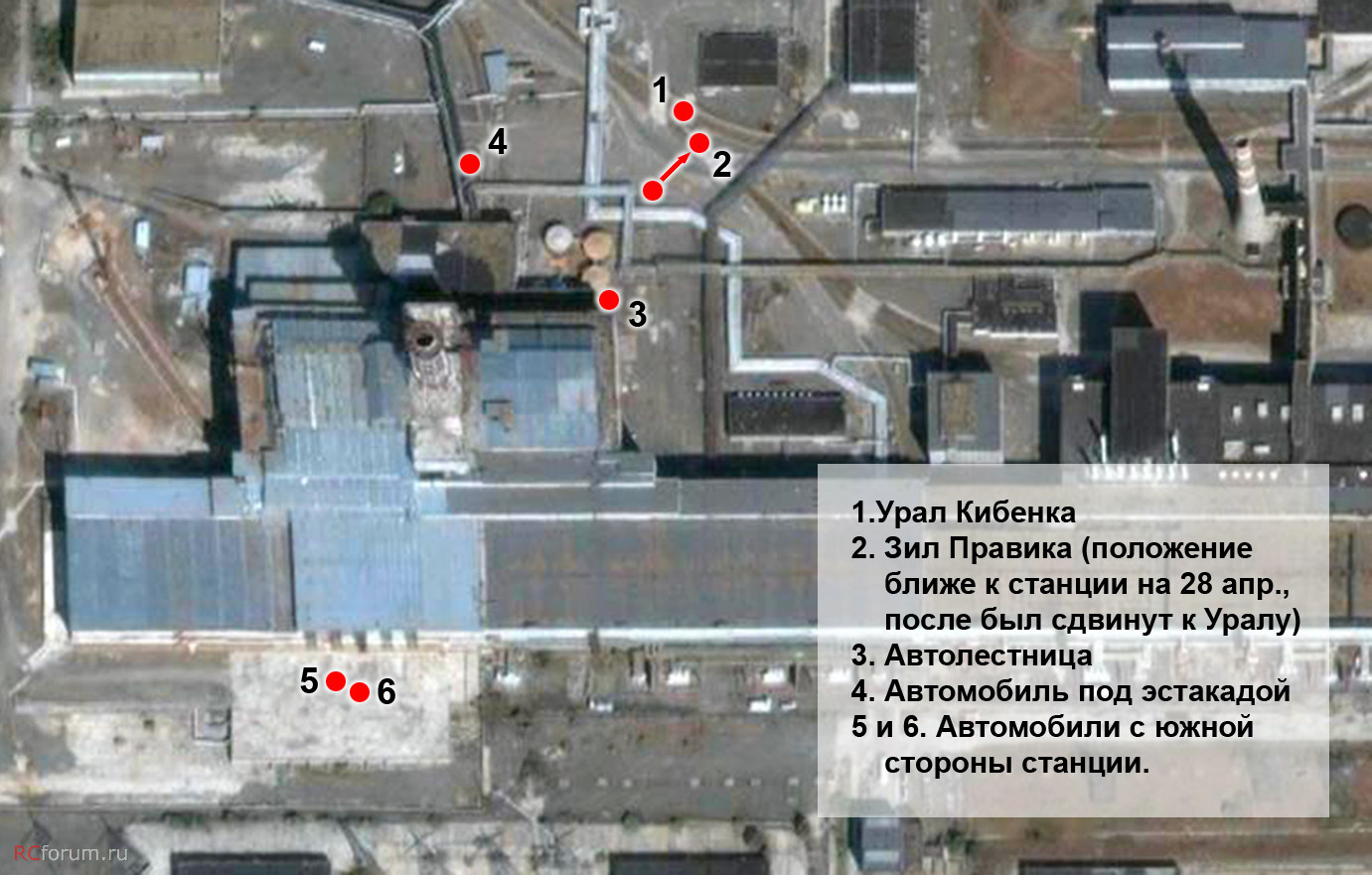 A kép jól összegzi a hajnali két órás állapotot. Az 1-es 2-es szám a pripyati és csernobili tűzoltók gépjármű fecskendőinek helyét jelzik, a 3-as szám a magasból mentő pozicióját, a 4-es a szivattyúbázis, az 5-6 pedig az erőmű tűzoltóságának Zil 133G és Zil 130-as gépjárműfecskendőinek helyét mutatják.