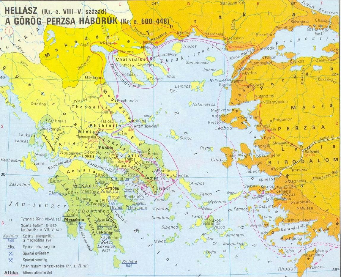 ókori görögország térkép A görög perzsa háború (Kr.e. 492 448)   A háború Marathónig  ókori görögország térkép
