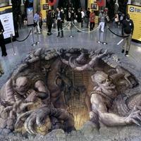 3D aszfaltfestés - Jönnek a szörnyek