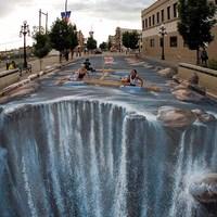 3D aszfaltfestés - Vigyázat, vízesés!