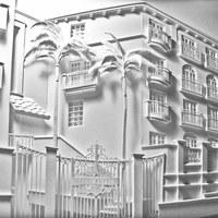 3D hatású épületek papírból
