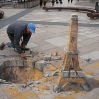 3D aszfaltfestés - Eiffel-torony