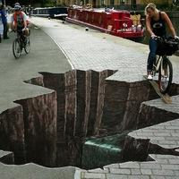 3D street art - Vigyázz, gödör!