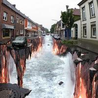 3D aszfaltfestés - Megnyílik a föld
