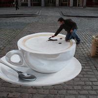 3D aszfaltfestés - Latte