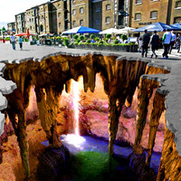 3D aszfaltfestés - Barlang