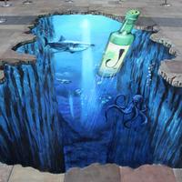 3D aszfaltfestés - A víz alatt