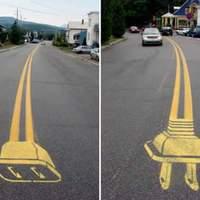 Graffiti az úttesten