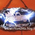 Karácsonyi ajtódísz teherautóval