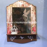 Fali kis tükör kolibrivel
