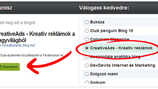 Szavazz a CreativeAds Blogra a Goldenblogon!
