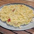 Szalonnás-tökös-sajtos spagetti