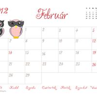 Nyomtatható februári naptár
