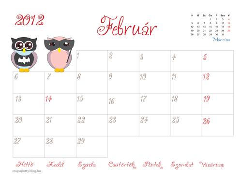 nyomtatható naptár Nyomtatható februári naptár   Csupapötty nyomtatható naptár
