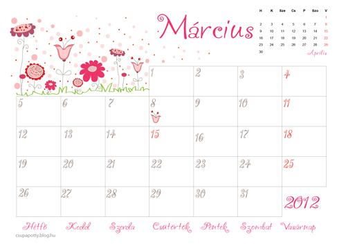 március naptár Nyomtatható márciusi naptár   Csupapötty március naptár