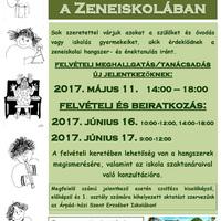 Beiratkozás/Felvételi a 2017/2018. tanévre a Zeneiskolában