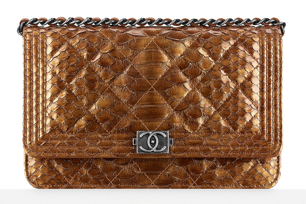 Chanel Metallic Python Boy Wallet on Chain - $4,100