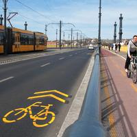 Sűrű bringajelekkel lett tele a Margit -híd