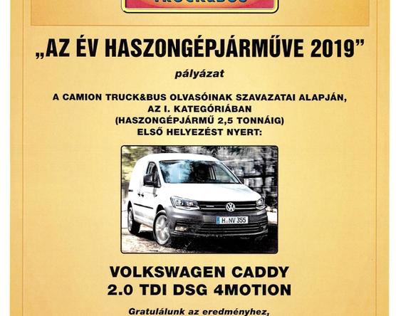 """Ismét a Caddy nyerte el """"Az év haszongépjárműve"""" díjat"""