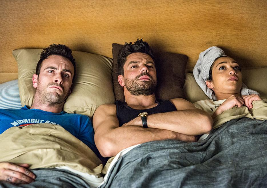 Cassidy (Joseph Gilgun), Jesse Custer (Dominic Cooper), and Tulip (Ruth Negga) in Season 2<br />Photo by Skip Bolen/AMC