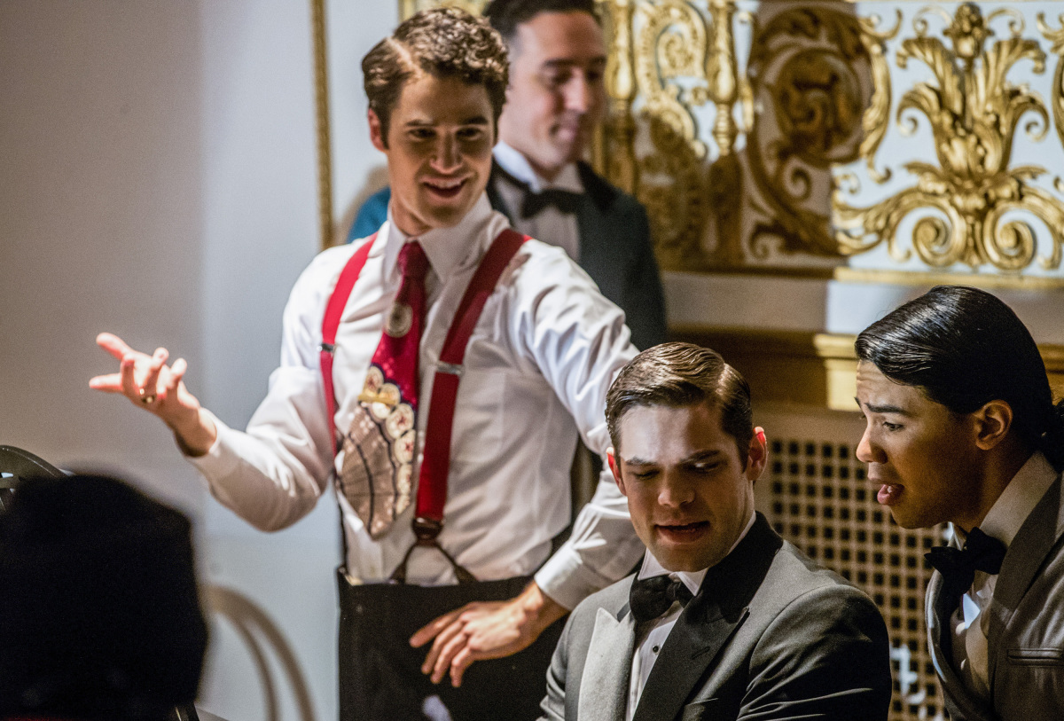 The Flash -- 'Duet' -- FLA317b_0212b.jpg -- Pictured (L-R): Darren Criss as Music Meister, Jeremy Jordan as Winn Schott and Carlos Valdes as Cisco Ramon -- Photo: Jack Rowand/The CW -- © 2017 The CW Network, LLC. All rights reserved.