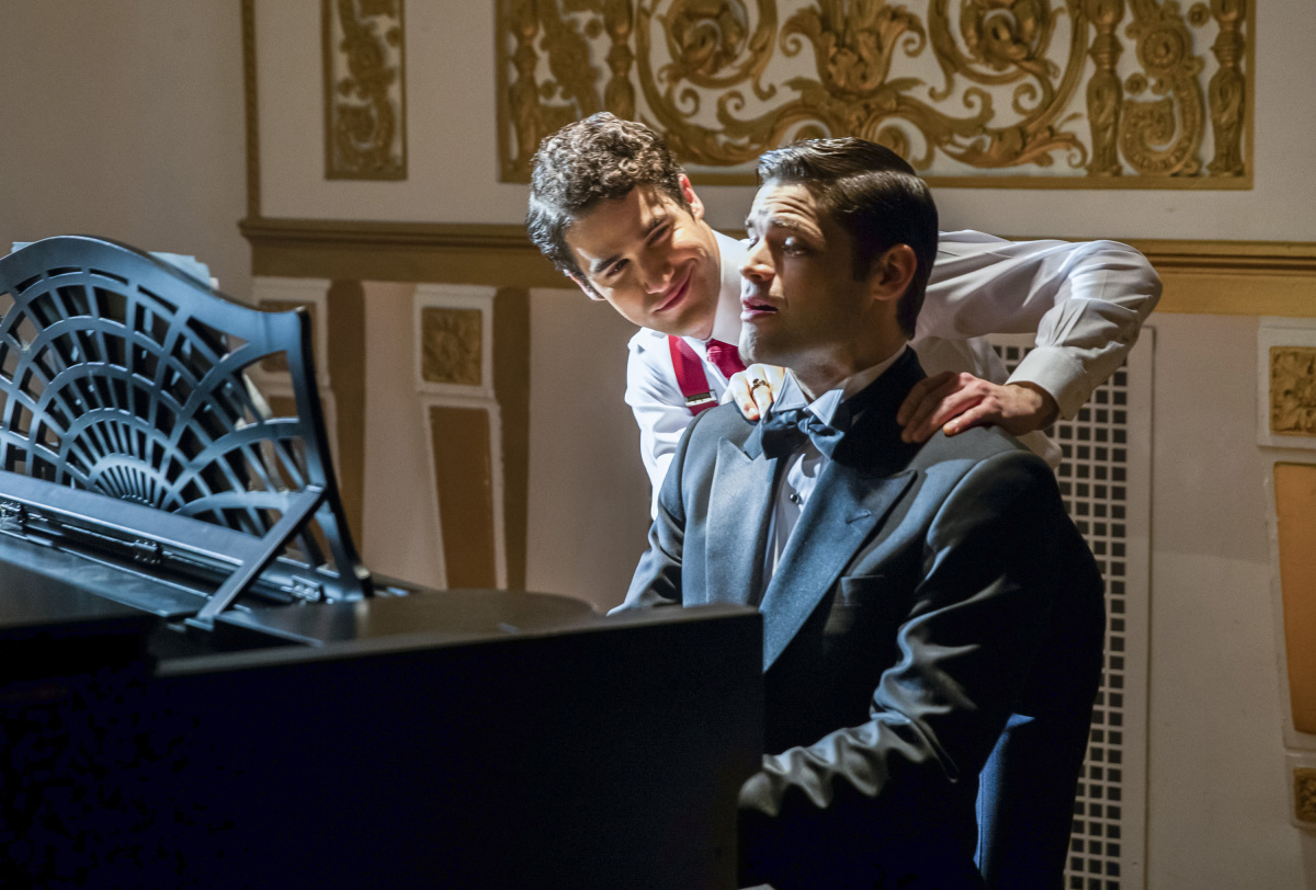 The Flash -- 'Duet' -- FLA317b_0521b.jpg -- Pictured (L-R): Darren Criss as Music Meister and Jeremy Jordan as Winn Schott -- Photo: Jack Rowand/The CW -- © 2017 The CW Network, LLC. All rights reserved.
