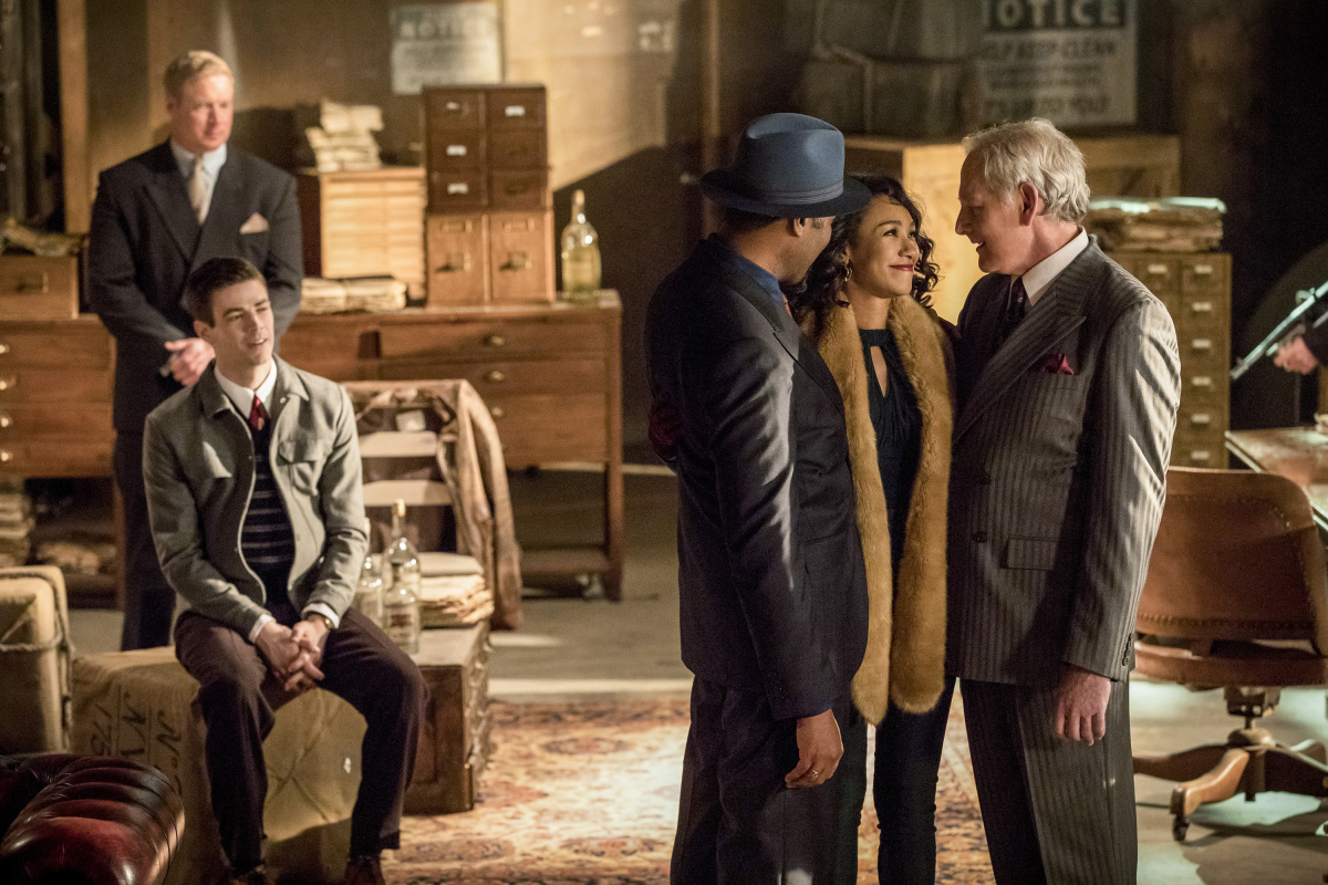 The Flash -- 'Duet' -- FLA317c_0297b.jpg -- Pictured (L-R): Grant Gustin as Barry Allen, Jesse L. Martin as Detective Joe West, Candice Patton as Iris West and Victor Garber as Professor Martin Stein -- Photo: Jack Rowand/The CW -- © 2017 The CW Network, LLC. All rights reserved.