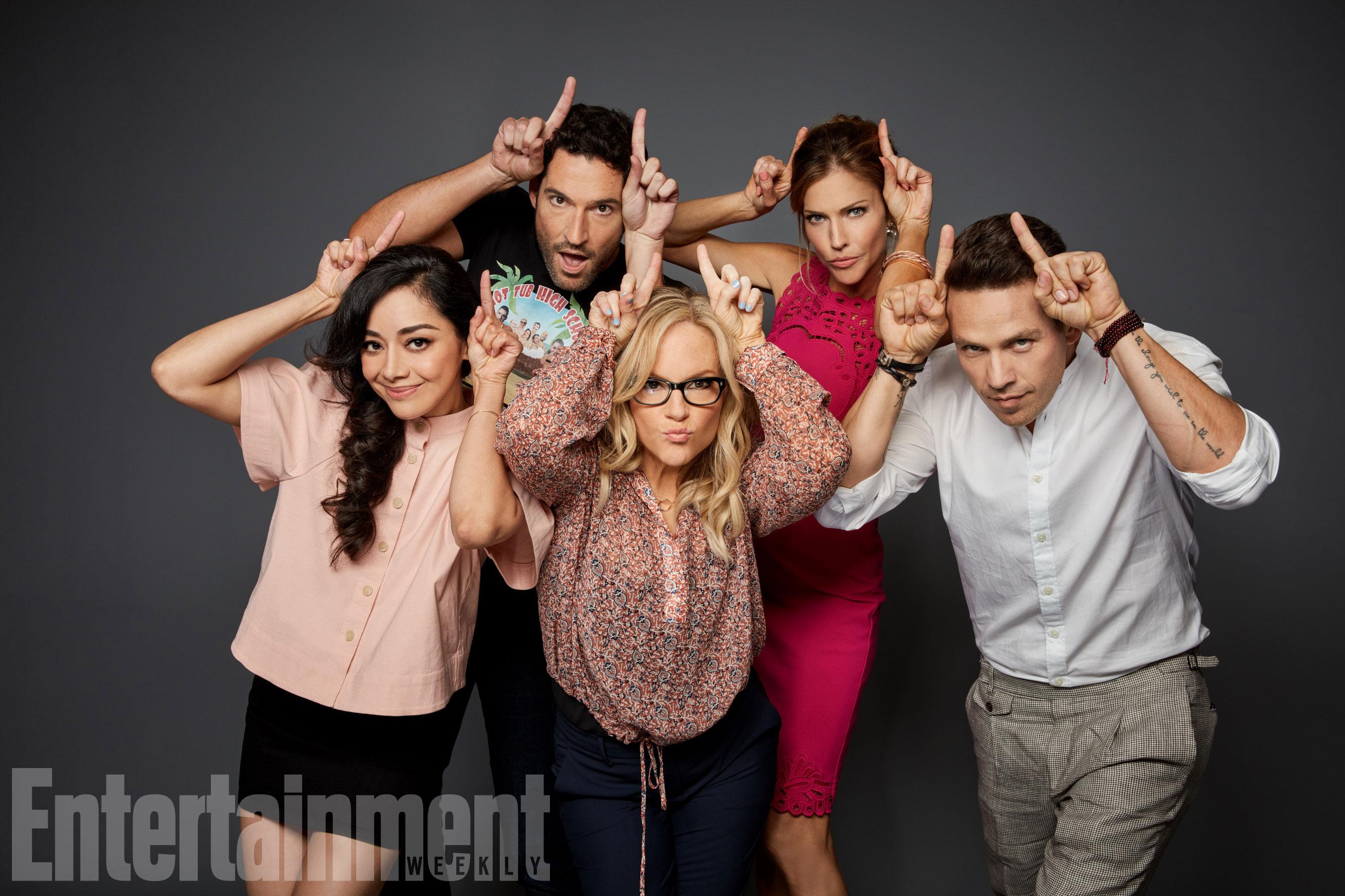 Aimee Garcia, Tom Ellis, Rachael Harris, Tricia Helfer és Kevin Alejandro (Lucifer)