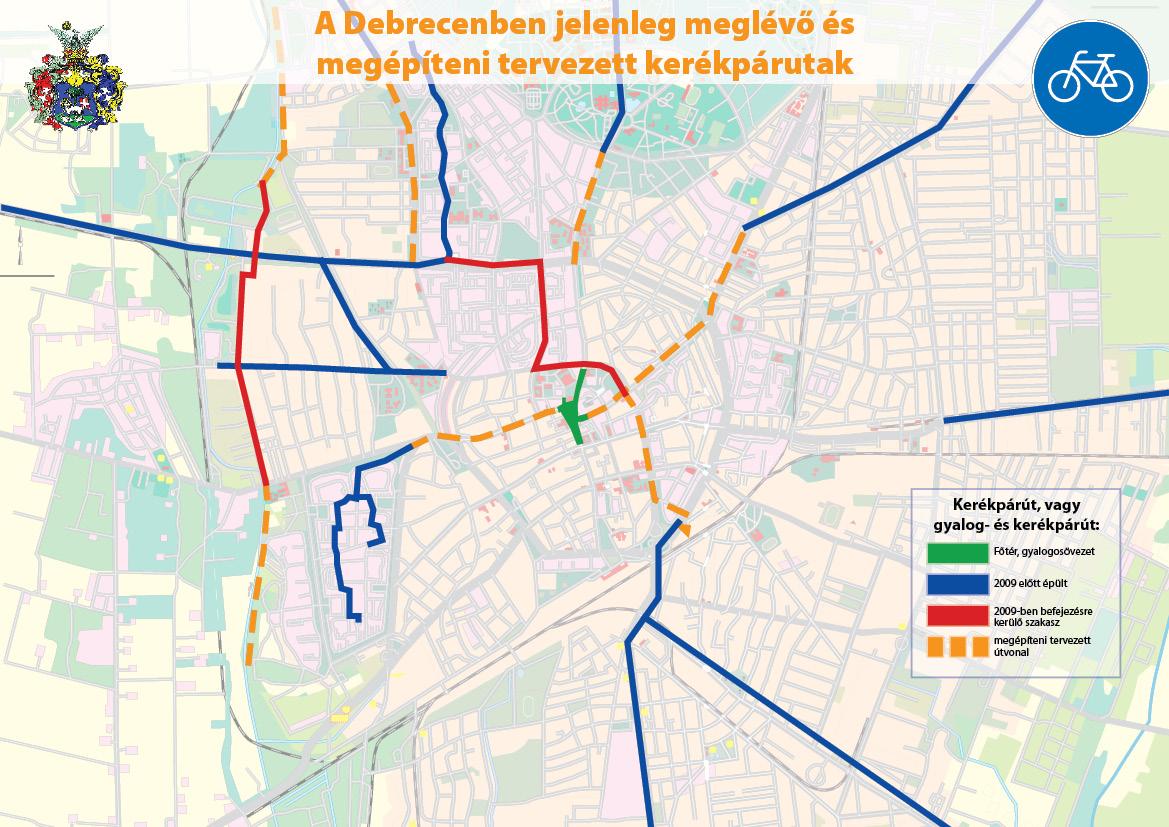 kerékpárút debrecen térkép Kerékpárút fejlesztések Debrecenben   Debrecen autós szemmel kerékpárút debrecen térkép