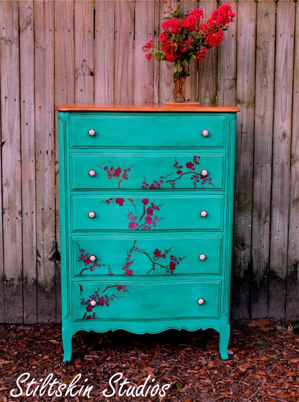 cherry blossom dresser and Jen's table 1.JPG
