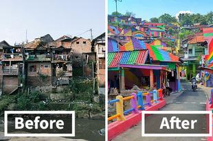Szivárvány falu, amihez az indonéz kormány adta a pénzt a dekorésönre!