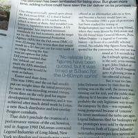 Egy cikk a turbós Deloreanekről