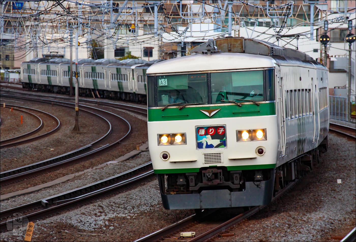 JR East 185-0-as sorozatú motorvonat 2019 őszén Totsuka és Ofuna között.