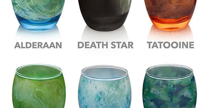 Gyönyörű pohárkészlet Star Wars bolygók alapján
