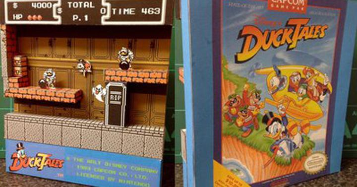 Klasszikus 8-bites videojáték-jelenetek papírból