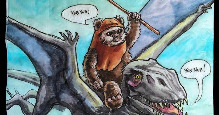 Star Wars karakterek dinókon lovagolnak