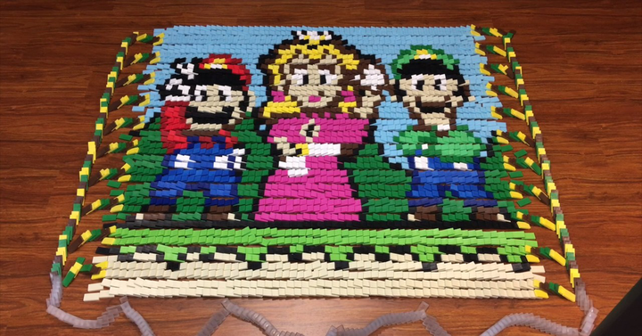 Dominódöntés Super Mario módra