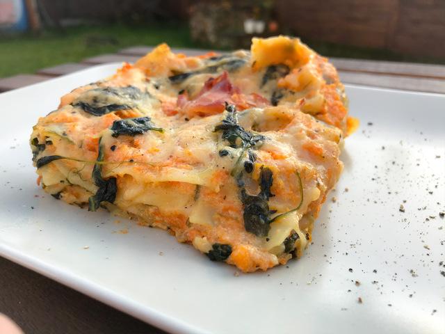 Sütőtökös-spenótos lasagne