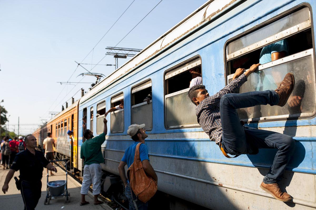 Bevándorlók csoportja próbál felszállni a Szerbiába tartó vonatra a macedón-görög határ közelében, hogy Magyarországon keresztül az EU területére léphessenek. (f.: AFP)